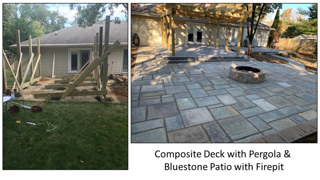 Composite Deck with Pergola & Bluestone Patio with Firestone by A To Z Turnover Services